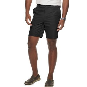 Classic fit Quick Dry Flat front Black Shorts